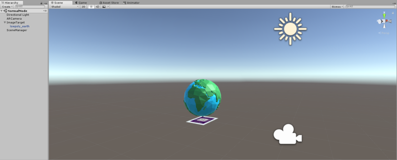 Image and Earth's model in Unity Editor