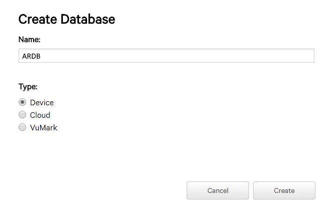 Unity Create Database window